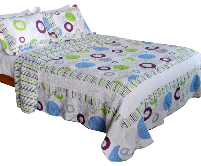 Bubble Ocean 100% Cotton 3PC Vermicelli-Quilted Patchwork Quilt Set King Size transitional-quilts-and-quilt-sets