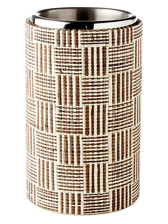 Ballard Designs - Bunny Williams Raffia Wine Cooler - Handmade. Removable stainless steel liner. Entertaining guru, Bunny Williams, uses a Wine Cooler to disguise labels (even good ones) and protect tables from drips. She designed this Raffia Wine Cooler to layer in natural texture, too. When she's not serving, Bunny suggests using it for cold bottled water next to the bed.Bunny Williams Wine Cooler features: . .