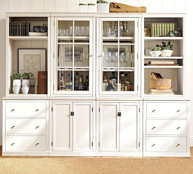 "Logan Large Wall System with Open Shelves (4 36"" bases with doors, 4 36"" hutches - Traditional ..."