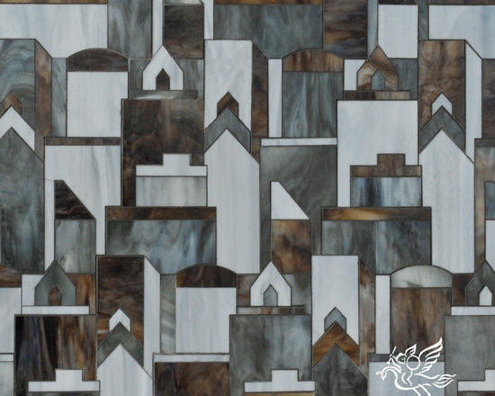Erin Adams - Cityscape - Cityscape, a glass waterjet mosaic shown in Lavastone, Pearl and Tourmaline, is part of the Erin Adams Collection for New Ravenna Mosaics.
