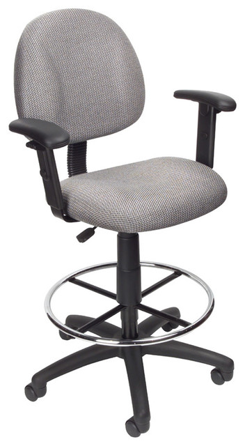 BOSS Grey Contoured Back And Seat Medical Drafting Stool ...