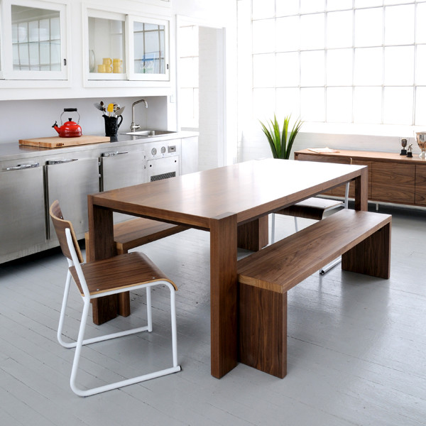 Gus modern plank dining table and bench modern dining tables toronto by gus modern - Kitchen bench designs ...