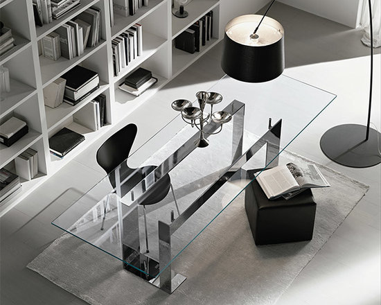 Miles Glass Dining Table - The Miles is a modern and contemporary wide dimension high table with a white or black lacquered metal structure and tempered glass clear top. Miles is available in black, white, chrome. The glass table top is placed on 4 supports that lift the top from the lacquered or chrome plated metal basement.
