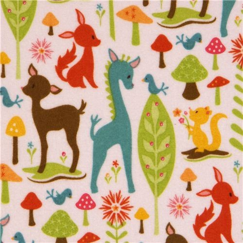 animal flannel fabric deer squirrel Riley Blake USA  fabric