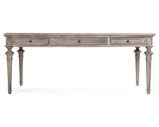 Kathy Kuo Home - Nadine French Country Limed Gray Partners Desk Dining Table - This French country wooden dining table is a large, stately piece crafted with delicate, period features so it won't overwhelm your room.  The antique grey limed finish gives it a texture that hints at a past life and works as well in your rustic cottage as it will in a modern industrial loft.  As a beautiful bonus, two drawers allow you to store dining utensils or other dining accouterments for easy access. Also works as a stately desk.