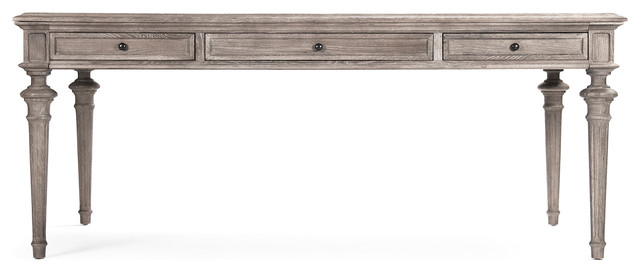 Nadine French Country Limed Gray Partners Desk Dining Table transitional-desks-and-hutches