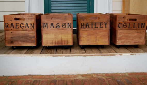 Personalized Rolling Crate by Looney Bin Trading Co. rustic-storage-bins-and-boxes