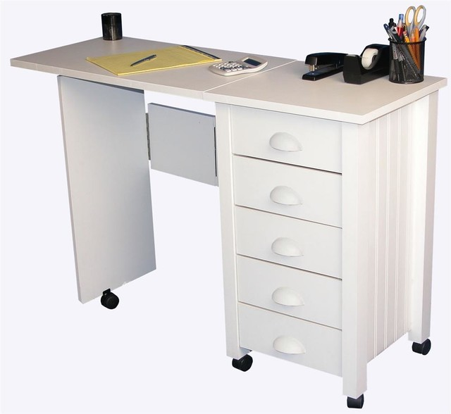 Mobile 5-Drawer Folding Desk & Craft Table in - Contemporary - Desks And Hutches - by ShopLadder