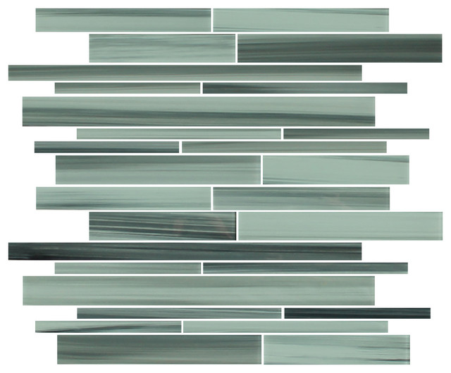 Surfz Up Linear Glass Mosaic Tiles, 10 Square Feet contemporary-tile