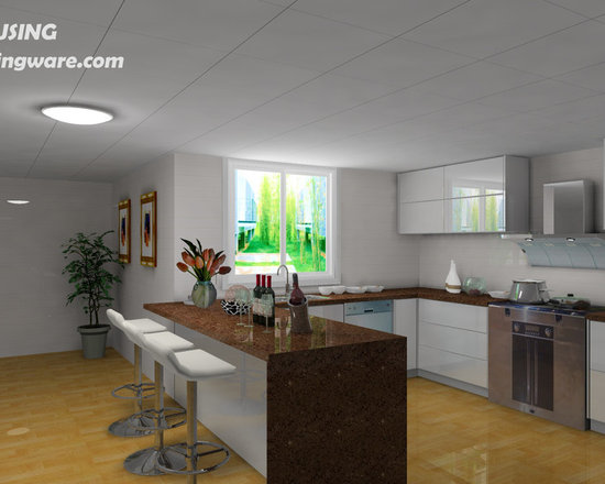 kitchen cabinet 002 - design free, customized, top quality, with bench top and top stainless steel sink