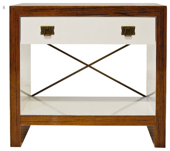 Dalton Nightstand Rosewood and White Lacquer midcentury-nightstands-and-bedside-tables