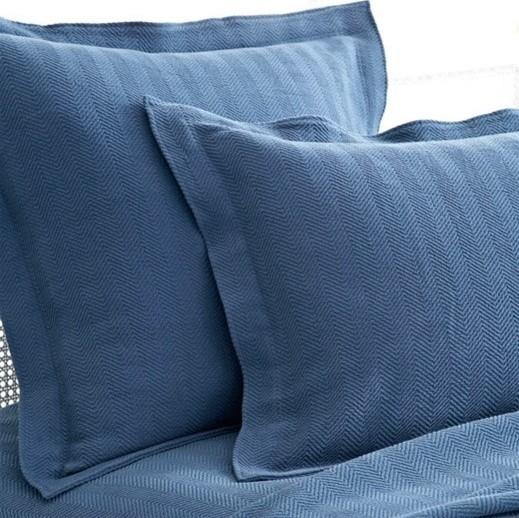 Pine Cone Hill Herringbone Matelasse Denim Pillow Sham contemporary-pillowcases-and-shams