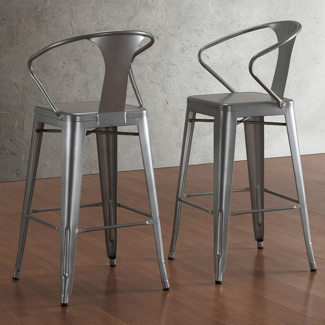 Tabouret Silver with Back 30-inch Bar Stools (Set of 2) contemporary-bar-stools-and-counter-stools