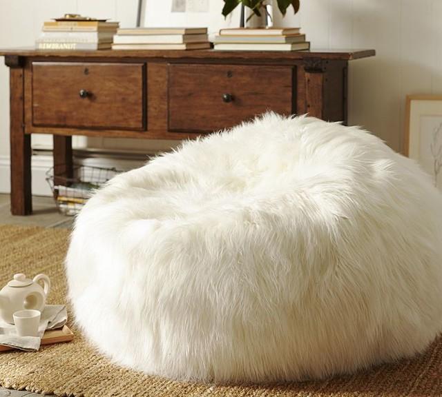 Faux Fur Beanbag Cover Long Shaggy Contemporary Bean