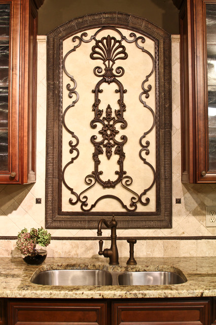 Cast Stone Backsplash Mediterranean Home Decor