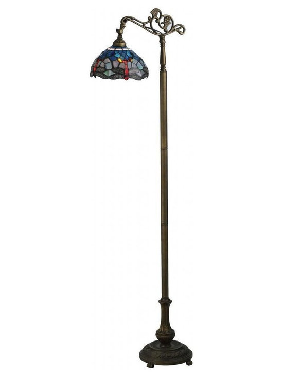 None - 63-inch Tiffany Hanginghead Dragonfly Bridge Arm Floor Lamp - Bring some whimsical charm to your home with this floor lamp. The base features a bridge arm silhouette for targeted illumination. The filigree details on the bronze base and the beauty of the stained glass shade work together to create an elegant look.