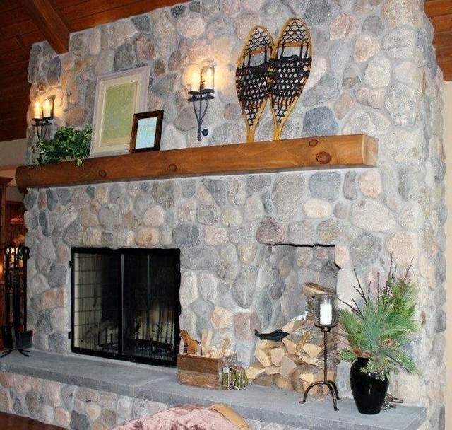 Field Stone Fireplace Rustic Living Room By The