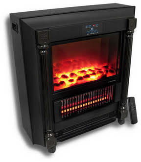 Bear Heaters Santa Fe Infrared Fireplace Heater with Remote Black contemporary-fireplaces