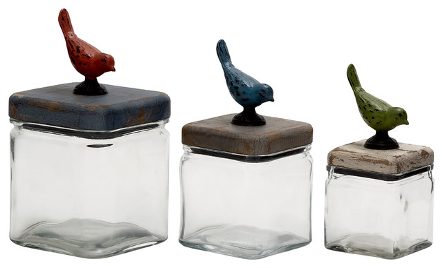 simply elegant glass wood canister set of 3 farmhouse