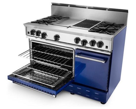 "48"" BlueStar RNB Gas Range - Cobalt Blue (RAL 5013) RNB 48"" Gas Range has 4 Top Burners with Charbroiler and Griddle."