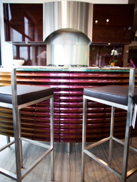 Neff kitchen - neff kitchens by Metric, holographic cabinet finish