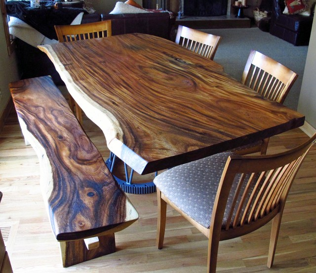 Natural Edge Monkeypod Wood Slab Dining Table With Custom