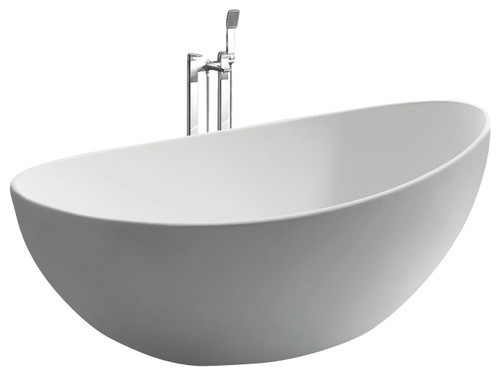 white stand alone stone resin bathtub matte bauhaus. Black Bedroom Furniture Sets. Home Design Ideas