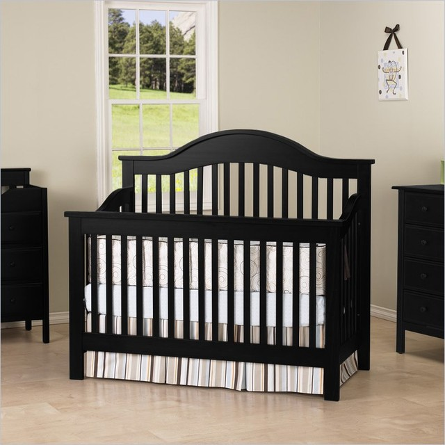 DaVinci Jayden 4-in-1 Convertible Wood Baby Crib w/ Toddler Rail in Ebony traditional-cribs