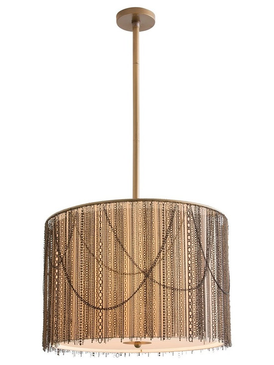 Arteriors Home - Rabari Pendant - Rabari Pendant features Brass and Bronze chains hung over a Putty microfiber shade with frosted diffuser. Comes with one 6 inch and two 12 inch rods. Three 60 watt, 120 volt A19 type medium base incandescent bulbs are required, but not included. 25 inch width x 17.5 inch height x 49 inch maximum length.