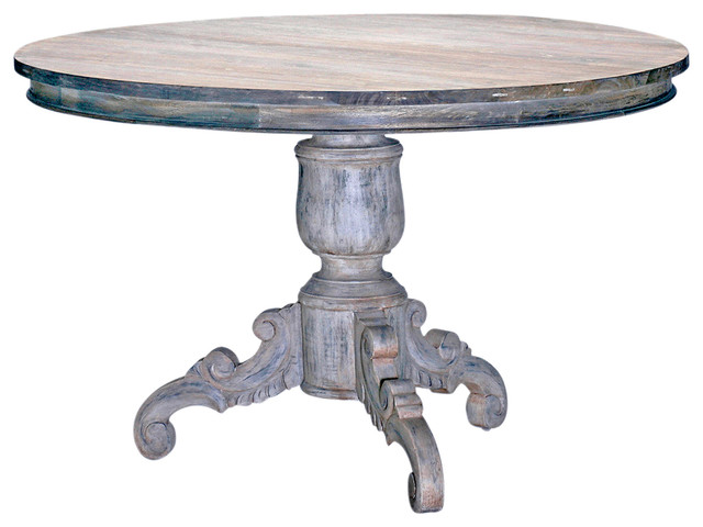 Gerome Swedish Gustavian White Wash Antique Gray Dining Table 48 D Farmhouse Dining Tables