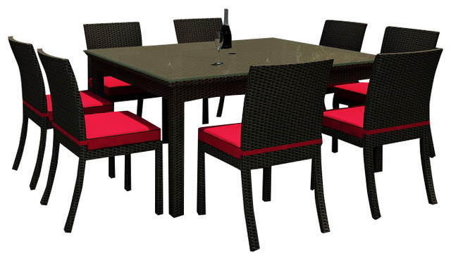 Barbados 9 piece square patio dining set flagship ruby for Jardin 8 piece dining set
