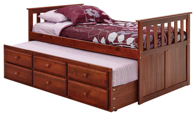 Chelsea Home Twin Mission Style Captains Bed with Trundle and Storage in Dark traditional-kids-beds