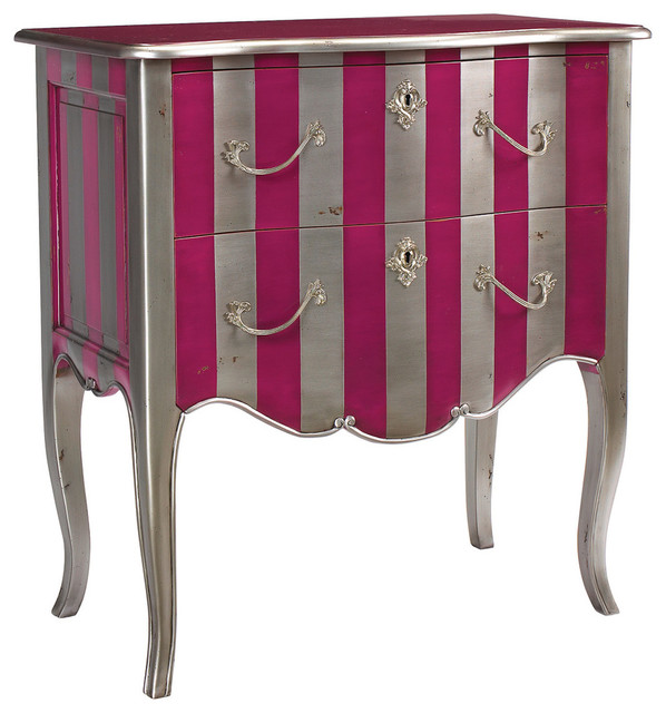 Silver and Pink Stripe Fontenay Commode traditional-dressers-chests-and-bedroom-armoires