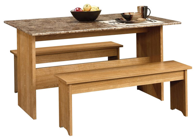 Sauder Beginnings Trestle Table with Benches in Highland Oak transitional-dining-sets