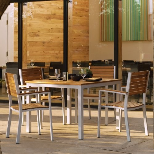 Oxford Garden Travira Teak Patio Dining Set Seats 4 Contemporary Patio Furniture And