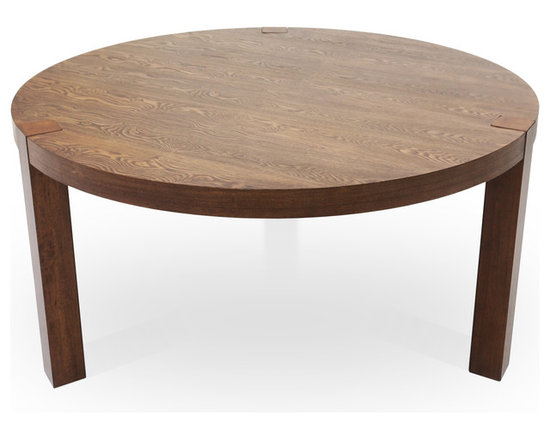 Bryght - Bahram Round Dining Table - The Bahram round dining table exhibits strength with class. A beautifully grained wooden top in ash veneer adds to its aesthetics while thick solid wood legs gives this piece stability.