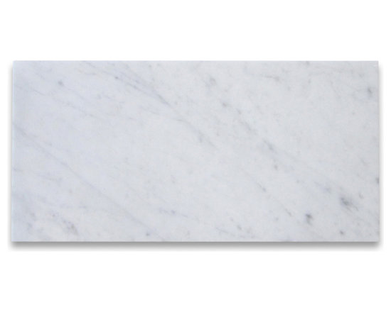 "Stone Center Corp - Carrara White Marble Subway Tile 9x18 Polished - Premium grade Carrara White Marble tile 9"" width x 18"" length x 3/8"" thickness; Polished finish"