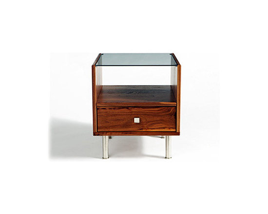 Rowlands Bedside Table - This side table features both open and hidden storage and would be a useful addition to a living room or bedroom.