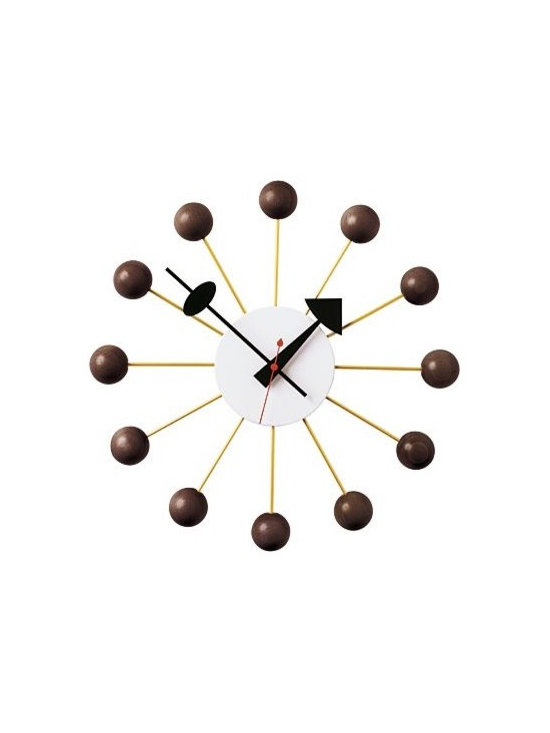 "Vitra - Nelson Ball Clock - George Nelson often collaborated with other designers, and in the case of the Ball Clock (1948), Nelson was at a dinner party with Isamu Noguchi, Irving Harper and Bucky Fuller. As the story goes, they were all sketching and ""we'd had a little bit too much to drink,"" said Nelson. In the morning, they saw a drawing of the Ball Clock on a roll of drafting paper. ""I don't know to this day who cooked it up,"" said Nelson. ""I know it wasn't me. It might have been Irving, but he didn't think so. [We] both guessed that Isamu had probably done it because [he] has a genius for doing two stupid things and making something extraordinary out of the combination. It could have been an additive thing, but we never knew."" Reproduced by the Vitra Design Museum. One AA battery included. The Ball Clock in Walnut is a DWR Exclusive."