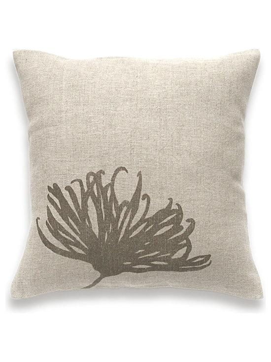 Chrysanthemum Print Decorative Lumbar Pillow Cover Natural Linen 16 inch square -
