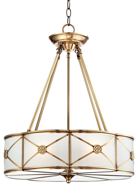 Traditional Possini Mirna Frosted Glass 19 Wide Brass