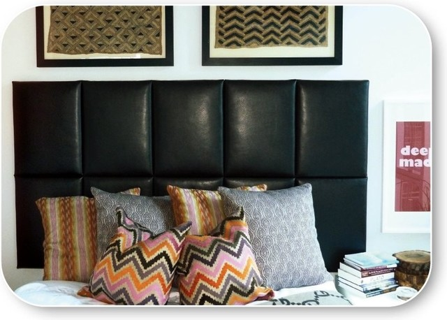 Queen Faux Leather Upholstered Headboard contemporary headboards