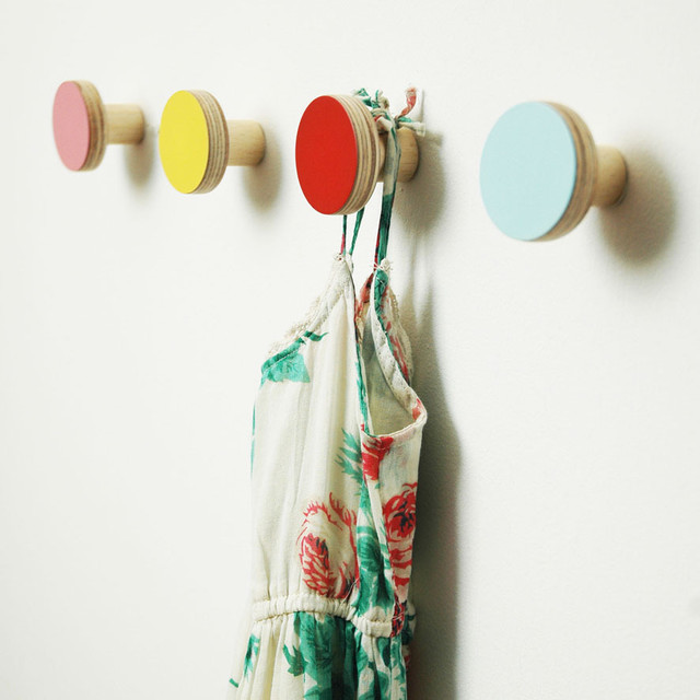 Wooden Wall Hooks modern-hooks-and-hangers
