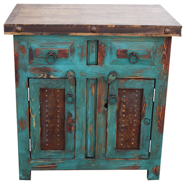 Distressed Wood Vanity Turquoise Rustic Bathroom Vanities And Sink Consoles By Foxden Decor