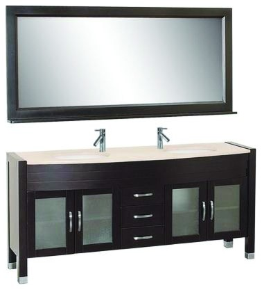 "Virtu USA 71"" Ava - Espresso - Double Sink Bathroom Vanity - White"