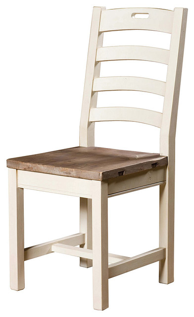 Cottage ladder back dining chair white beach style