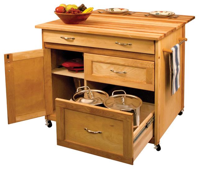 Deep drawer hardwood kitchen island contemporary kitchen islands and kitchen carts by - Overstock kitchen islands ...