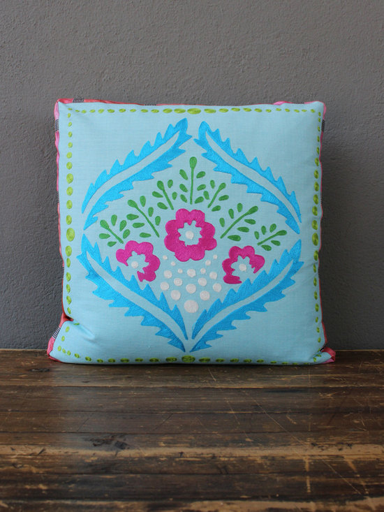 josie's blue + pink pillow - view this item on our website for more information + purchasing availability: http://redinfred.com/shop/category/detail/throw-pillows/josies-blue-pink-pillow/