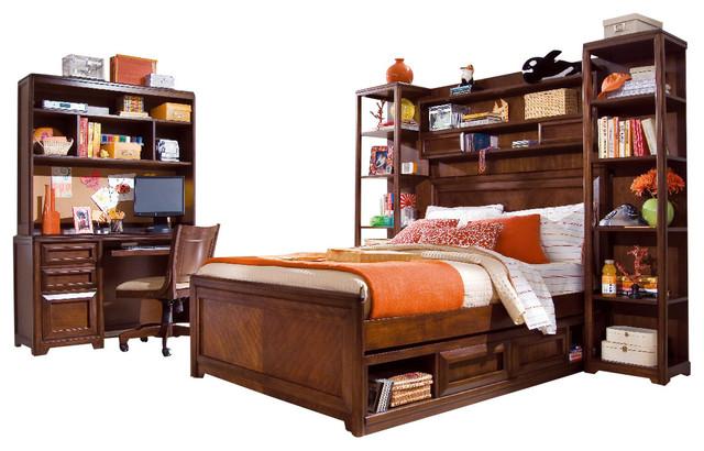 Lea Elite Expressions 8-Piece Panel Kids' Bedroom Set in Rootbeer Color traditional-kids-bedroom-furniture-sets