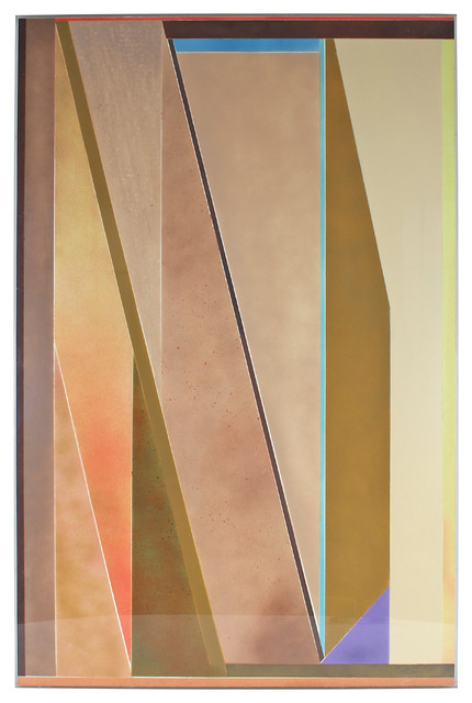 1977 Airbrush Angular Original Abstract in Pastel contemporary-originals-and-limited-editions